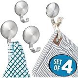 mDesign lot de 4 crochets pour serviettes – support à serviettes autoadhésif, montage sans perçage – support de rangement parfait pour serviettes, clés, chapeaux et Cie. – acier brossé