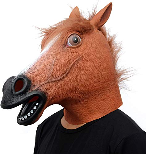 CreepyParty Horse Mask Novelty Halloween Costume Party Animal Head Mask Brown Horse Mask