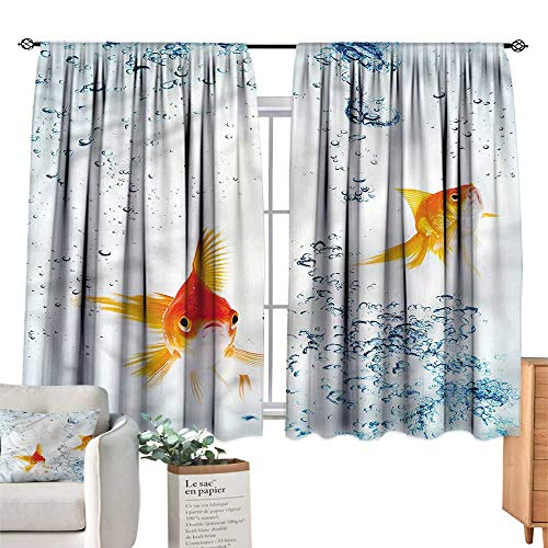 - WinfreyDecor Aquarium Insulated Sunshade Curtain Goldfishes Vivid Bubbles for Living, Dining, Bedroom (Pair) 55