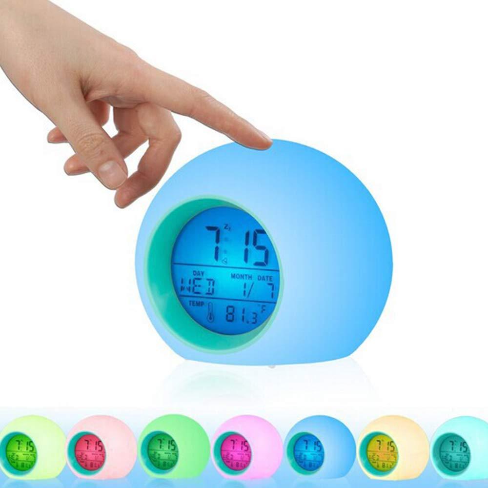 Cute Wake Up Indoor Temperature Digital Clock with LED Light for Kids Boys Girls Bedrooms Konesky 7 Colors Changing Alarm Clock