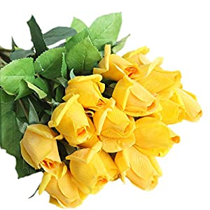 cn-Knight Artificial Flower 12pcs 22'' Artificial Rose Buds with Leaves Gel Coated Silk Flower for Wedding Bridal Bouquet Bridesmaid Home Décor Office Baby Shower Centerpiece,Yellow 37