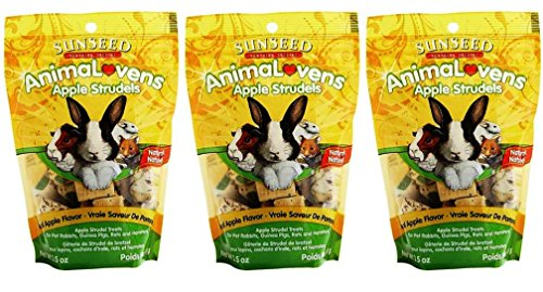 Sunseed Sunthing Special Animal Lovens Natural Treat Apple Strudels - Pack of 3, 3.5 Oz. Ea.