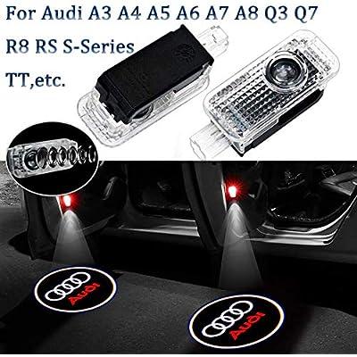 2-Pack Ultra-Bright LED Courtesy Puddle Lights, Car Door Logo Projector Step Light, For Audi Logo - A4 A3 A6 Q7 Q5 A1 A5 TT A8 Q3 A7 R8 RS: Automotive
