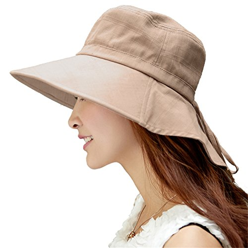 Siggi Womens Summer Flap Cover Cap Cotton UPF 50+ Sun Shade Hat with Neck Cord Wide Brim Khaki