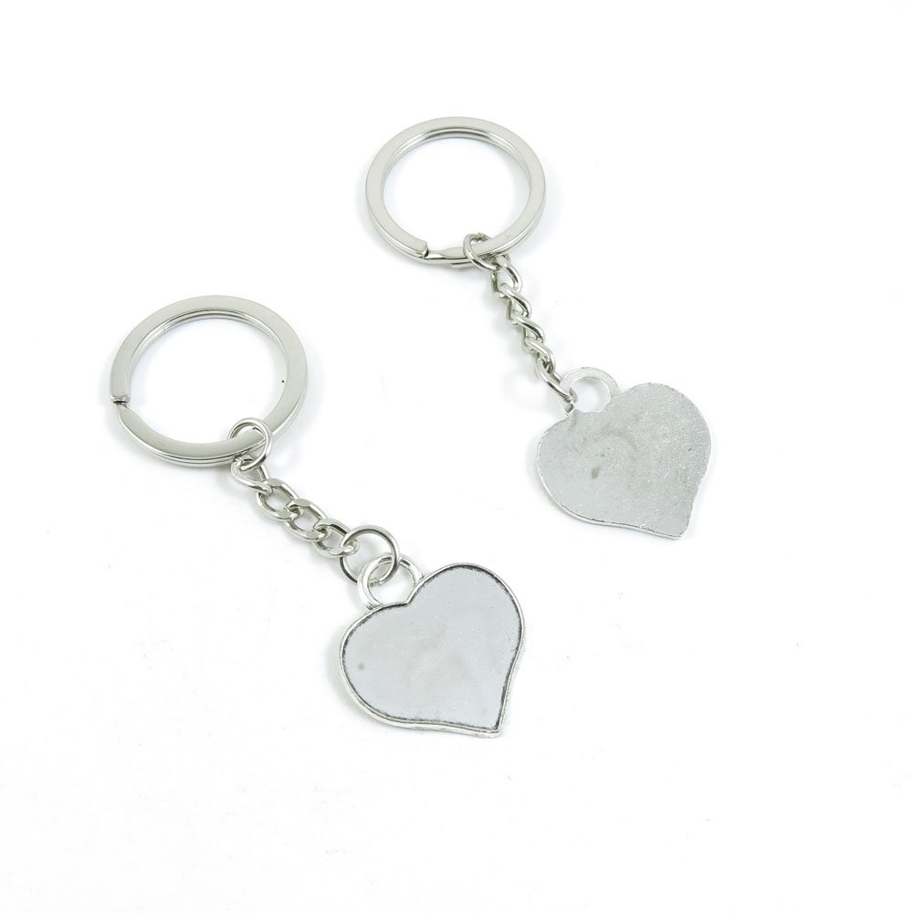 100 Pieces Keychain Door Car Key Chain Tags Keyring Ring Chain Keychain Supplies Antique Silver Tone Wholesale Bulk Lots D1SJ0 Love Heart