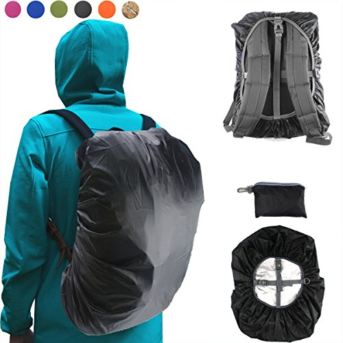 Frelaxy Waterproof Backpack Rain Cover (15-90L), Upgraded Vertical Adjustable Buckle Strap & Silver Coated Hiking, Camping, Traveling (Black, M New)