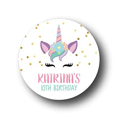 Amazon.com: 30 unicornio cara personalizado fiesta de ...