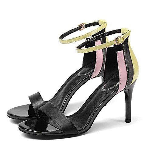 Donne Estate Cuciture Colore Sandali Tacchi Alti Cinturino Alla Caviglia Stiletto Fibbia Peep-toe Commercio Scarpe Da Sposa Partito, Nero-35