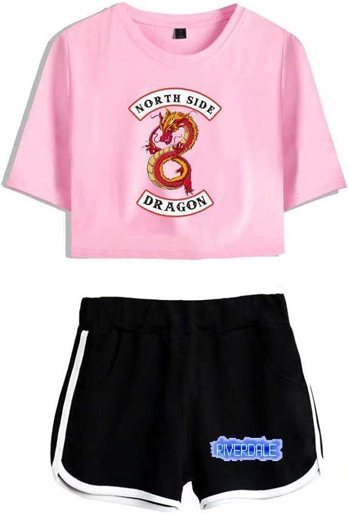 Pantalon Joggers Ensemble de Sport Suit Xsayjia Riverdale South-Side Serpents Ensembles Sportswear Femme Top dEt/é Snake TV T-Shirt Sweatshirts