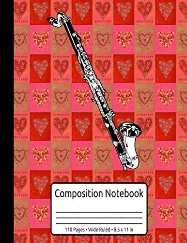 Vintage Bass Clarinet Gifts Girls Jazz Music Women Retro Bass Clarinet Composition Notebook 110 Pages Wide Ruled 8.5 x 11 in: Bass Clarinet Gifts For Women & Men