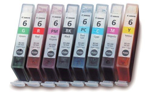 - Canon (4705A026) BCI-6 Color Ink Tank 8-Pack Set-Black