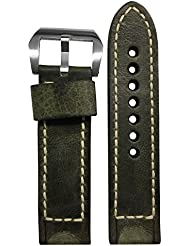 22x22mm XL RIOS1931 Olive Vintage Leather Watch Band with Box Stitching for Panerai Watches 124x92