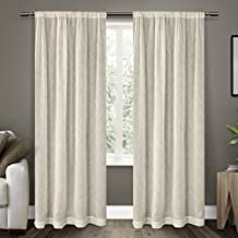 Exclusive Home Belgian Textured Linen Look Sheer Rod Pocket Window Curtain Panels / Drapery, Snowflake White, Sold as Set of 2/Pair Panels