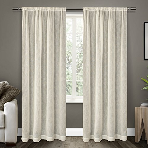 Exclusive Home Belgian Textured Linen Look Sheer Rod Pocket Panels 54