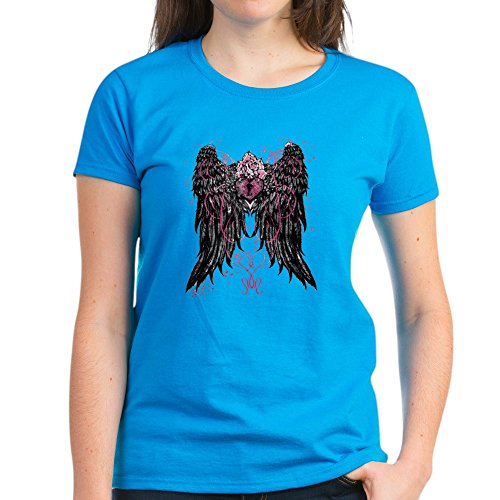 Royal Lion Women's Dark T-Shirt Heart Locket with Wings - Caribbean Blue, Small