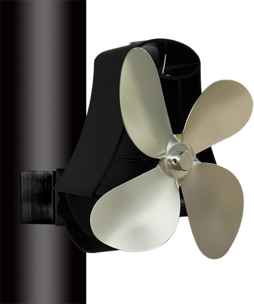 leise gro/ßer Raum Schwarz Aluminium warm Huiouer Kaminofenventilator zur Wandmontage selbstbetrieben 4 Fl/ügel effizient