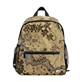 Vintage Old Forest Map School Backpack Canvas Rucksack Large Capacity Satchel Casual Travel