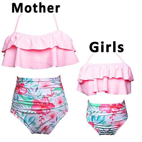 Charmcz 2 Pcs Girls Women Swimsuits Bikini Set Mother Daughter Swimwear High Waist Ruffle Halter Bathing Suit  Women Us 12 14  L  Women Pink