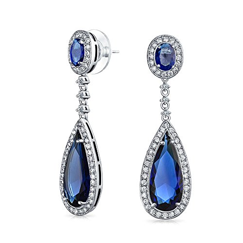 Tiffany Pave Earrings - Bling Jewelry Pave Teardrop Simulated Sapphire CZ Bridal Chandelier Earrings Rhodium Plated Brass