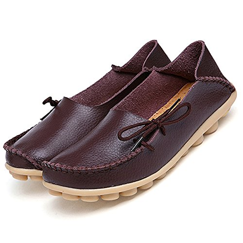 Adibosy Women Slip On Flats Leather Casual Loafers Oxfords Shoes Coffe 8