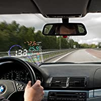 Flexzion Car Head Up Display 5.5 Universal HUD Vehicle-Mounted Projector with OBD2, EUOBD Interface Plug Play Engine Speed, Water Temperature, KM/h MPH Speeding Warning Fuel Speedometers A8