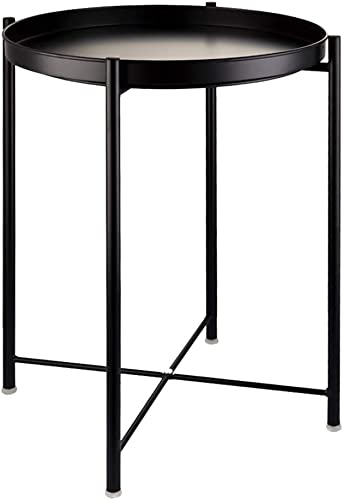 EKNITEY End Table,Folding Metal Side Table Waterproof Small Coffee Table Sofa Side Table