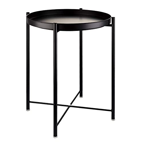 EKNITEY End Table,Folding Metal Side Table Waterproof Small Coffee Table Sofa Side Table with Removable Tray for Living Room Bedroom Balcony and Office Black