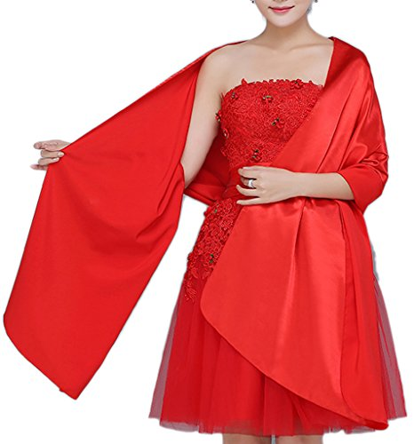 Alivila.Y Fashion Womens Chiffon Bridal Long Wrap Scarf Shawl-Red Satin