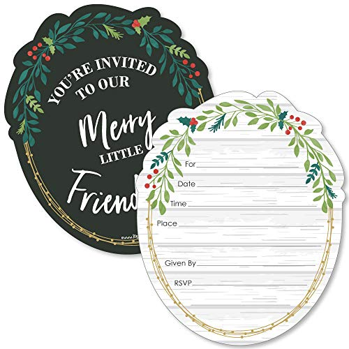 Best Friends Invitation (Rustic Merry Friendsmas - Shaped Fill-in Invitations - Friends Christmas Party Invitation Cards with Envelopes - Set of 12)