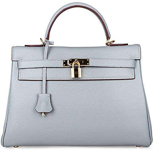 Leather Kelly Purse Handbag (Cherish Kiss Women's Genuine Leather Tote Bag Cross Body Shoulder Padlock Handbags K32 (32CM, Grey Blue))