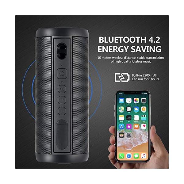 Hieha Enceinte Bluetooth Portable,Waterproof Haut-Parleur Bluetooth 4.2,Enceinte d'éxterieur sans Fil, 360°HD Bass Pilote Double,Mains Libres,Technologie TWS,Étanche IP67 4