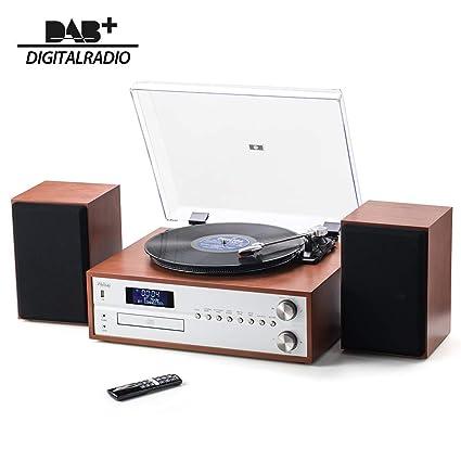 Shuman Wooden 7 In 1 Bluetooth Hifi Music Centre With Bookshelf Speakers Set Retro Turntable Vinyl Record Player Fmdab Radio Cd Player Usb