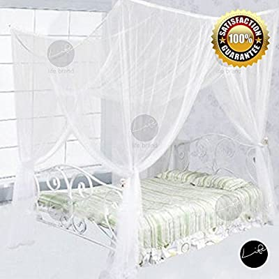 LIFE Four Corner Post Bed White Canopy Mosquito Net Full Queen King Size Netting