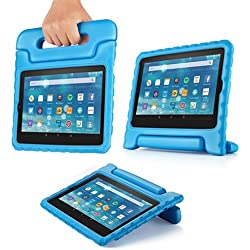 TNP Shock Proof Case for All New Fire 7 Tablet (7th Gen, 2017 Release) - For Kid Friendly Child Proof Anti Slip Impact Drop Light Weight Convertible Handle Stand Cover Protective Case (Blue)