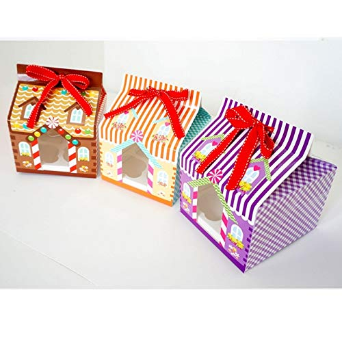 DishyKooker New Year 2015 Christmas 4 Hole Cupcake Packaging Box/Christmas Cake Box/Cake Carry Holder Open Window with Ribbon Show