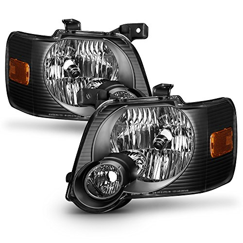 ACANII - For Black 2006-2010 Ford Explorer Headlights Headlamps Replacement Driver+Passenger ()