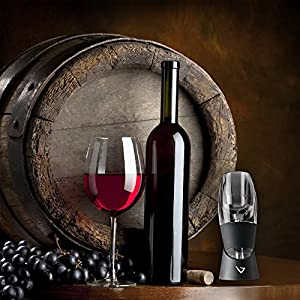 Vinturi V1010 Essential Red Wine Aerator Pourer and Decanter Includes Base Enhanced Flavors with Smoother Finish, Black