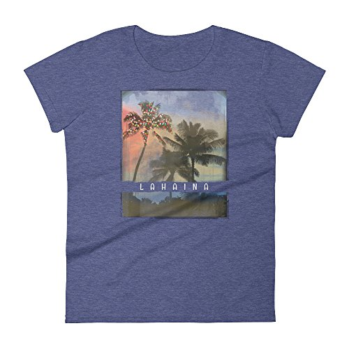 Delsee Brands & Products Christmas In Lahaina Maui Hawaii Women's Short Sleeve t-Shirt Holiday Beach - Lahaina In Maui Shops