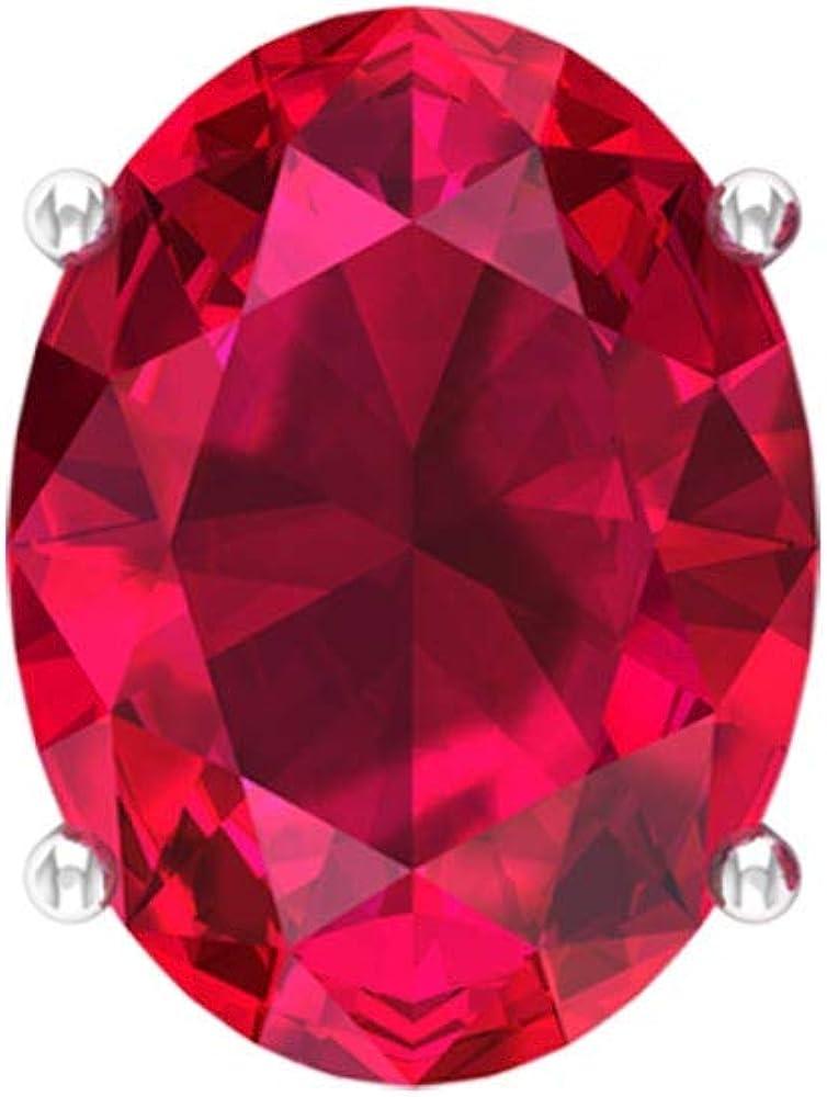 Solitaire - Pendientes de tuerca con forma ovalada de 4,40 ct, diseño de piedras preciosas de rubí certificado, 9 x 7 mm, tamaño de la piedra natal de julio, pendientes de boda, tornillo hacia atrás