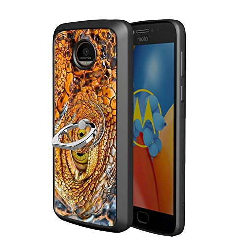 - YQCi Compatible with Moto E4 Plus 360 Full Body Slim Cover Soft Flexible TPU Protector Skin with Ring Holder Stand for Moto E4 Plus-Crocodile Eyes