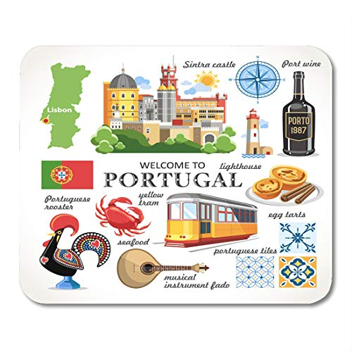 Emvency Mouse Pads Portuguese Yellow Lisbon Portugal Objects Travel Map Mouse Pad 9.5