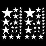 Set de stickers étoiles, Blanc , 14x2,5cm 6x5cm 2x7,5cm 1x10cm