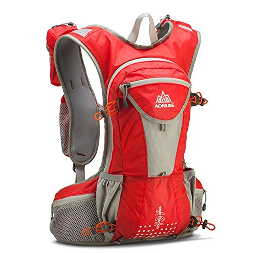 Hydration Pack Hiking Backpack Hydration Vest for Biking Hiking Running Cycling (Red-gray)