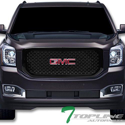 (Topline Autopart Glossy Black OE Square Mesh Front Hood Bumper Grill Grille ABS For 15-18 GMC Yukon/XL/Denali)