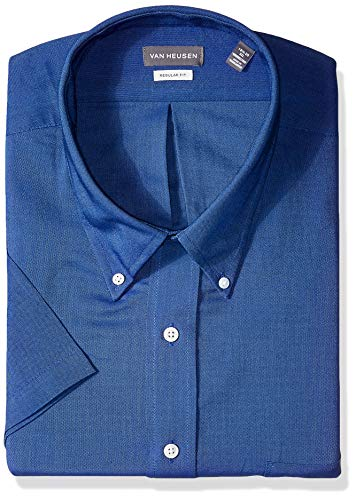 - Van Heusen Men's Short Sleeve Oxford Dress Shirt, English Blue, X-Large