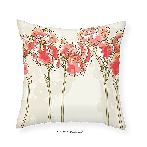 VROSELV Custom Cotton Linen Pillowcase Floral Watercolor Painting Style Iris Flowers Blooming Romantic Hand Drawn Artwork for Bedroom Living Room Dorm Beige Dark Coral 16