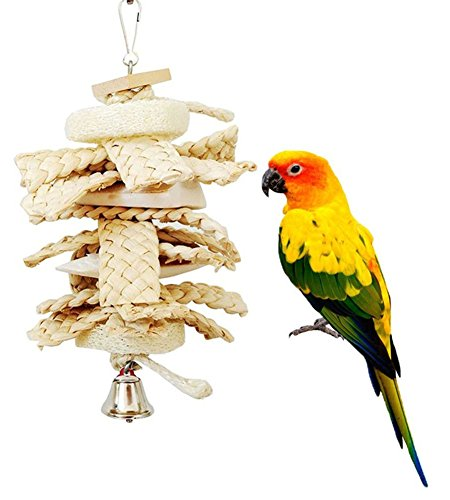 Zeroyoyo Parrot Toy Parrot Hanging Toys Natural Loofah Grass Toy Pet Bird Conure Macaw Cockatiel Cockatoo Chewing ()