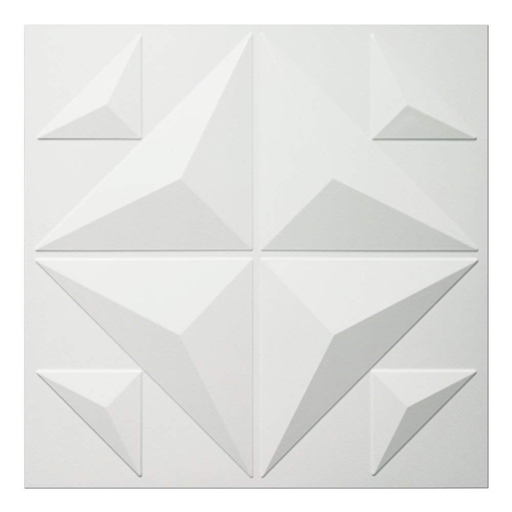Art3d Decorative 3D Panels Textured Wall Design Board, White, 12 Tiles 32 Sq Ft
