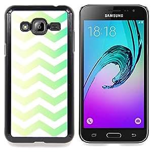 Stuss Case / Funda Carcasa protectora - Vert Jaune Chevron Motif White Rasé - Samsung Galaxy J3 GSM-J300