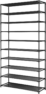 50 Pairs 10 Tier Shoe Rack Metal Shelf Holder Stackable Portable Black